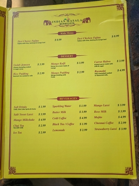 Indian Masala, Menu, Dessert etc