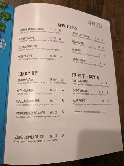 Kumar's, Menu, Seafood