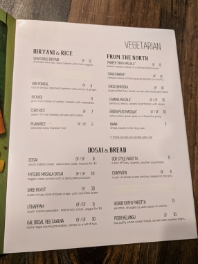 Kumar's, Menu, Vegetarian-Biryani, Northern, Dosai, Bread