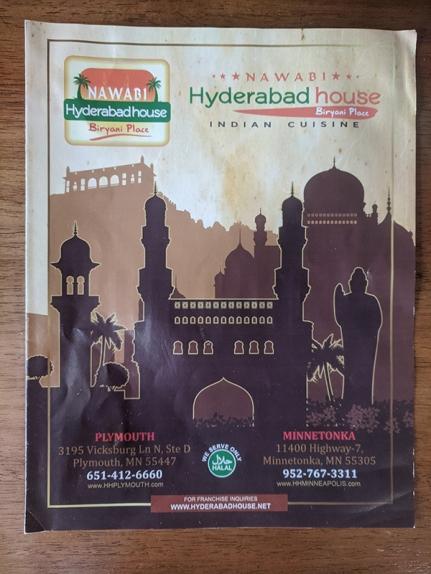 Hyderabad House, Menu