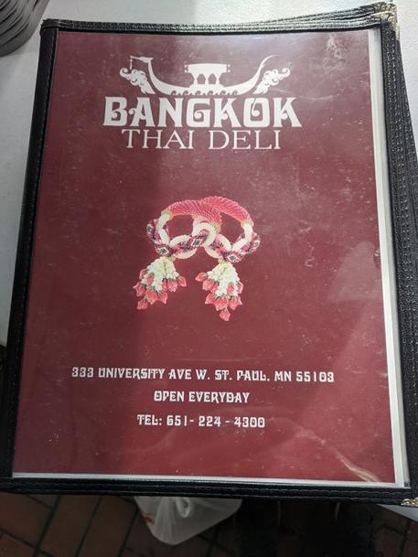 Bangkok Thai Deli, Menu