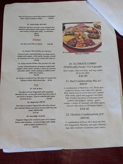 Fasika, Menu, Lamb, Chicken, Fish, Combos