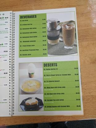 Pho Everest, Menu, Beverages and Desserts