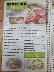 Pho Everest, Menu, Pho