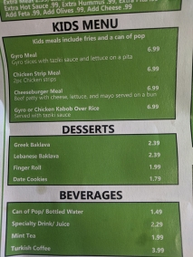 Gyros Grill, Menu, Kids Menu, Desserts, Beverages