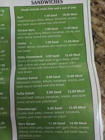 Gyros Grill, Menu, Sandwiches