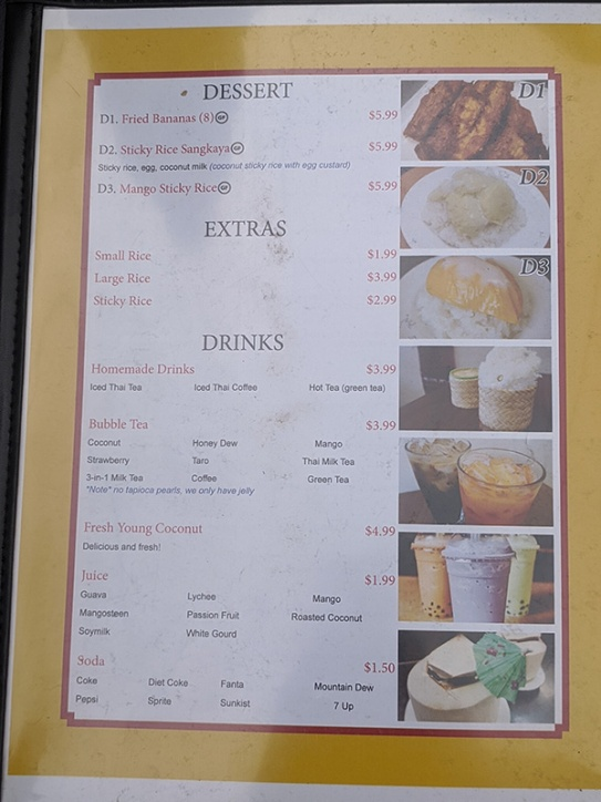 Thai Cafe, Menu, Dessert, Extras, Drinks
