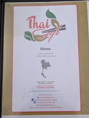 Thai Cafe, Menu