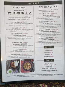 Basil Cafe, Menu, Stir-Fry, Specialties