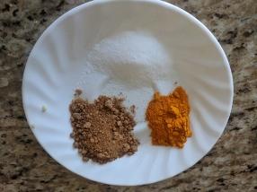 Salt, jaggery, haldi