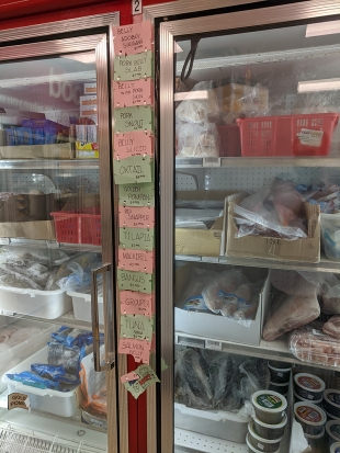 Asian Mart, Aisle 1, Freezer contents and prices