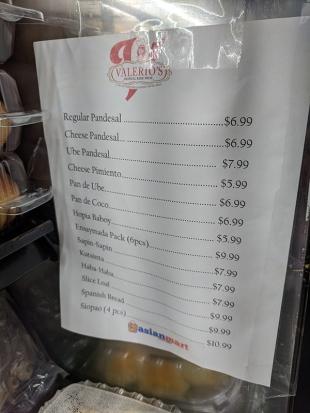 Asian Mart, Prepared foods list
