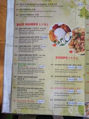 Peninsula, Menu, Rice Dishes, Soup