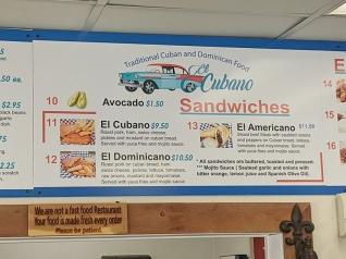 El Cubano, Menu, Sandwiches