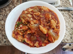 Grand Szechuan, Fish Fillet with Bean Jelly, reheated