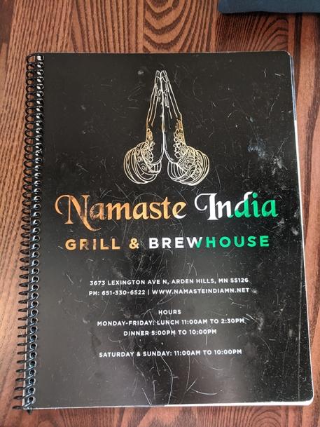 Namaste India Grill, Menu