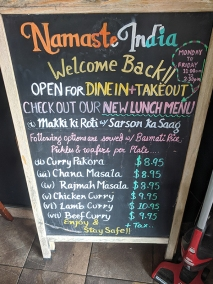Namaste India Grill, New lunch menu