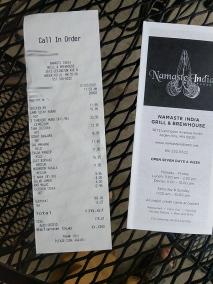 Namaste India Grill, Receipt