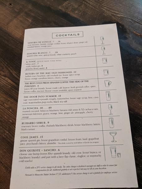 Estelle, Menu, Cocktails