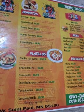 Taco N Madre, Menu, Burritos, Platillos