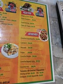 Taco N Madre, Menu, Filetes, Ceviches