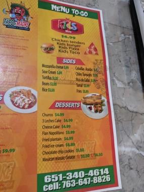 Taco N Madre, Menu, Kids, Sides, Desserts