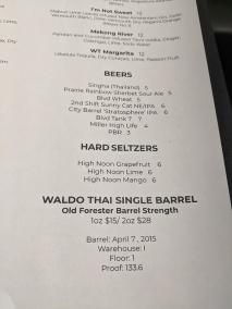 Waldo Thai, Menu, Beers, Hard Seltzers, Single Barrel