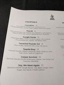 Waldo Thai, Menu, Cocktails