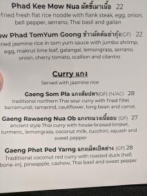 Waldo Thai, Menu, Curry