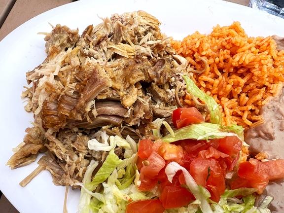 El Burrito Mercado, Carnitas, close-up