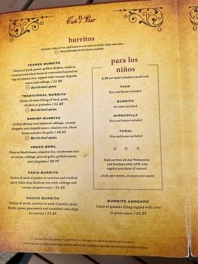 El Burrito Mercado, Menu, Burritos, Para Los Niños