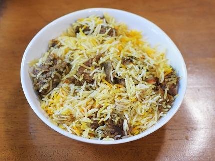 Original Mediterranean Grill, Goat Biryani, reheated