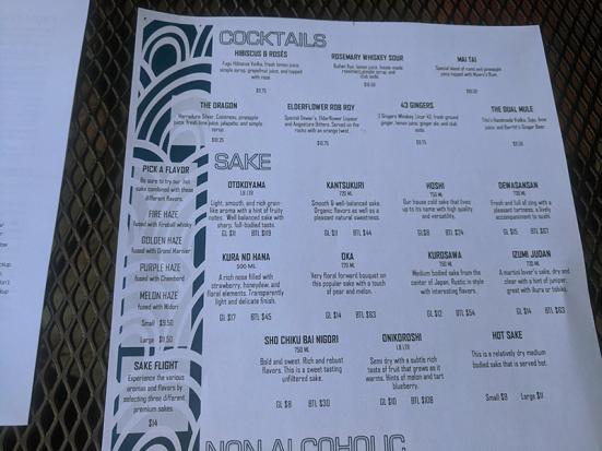 Saji-Ya, Menu, Cocktails, Sake