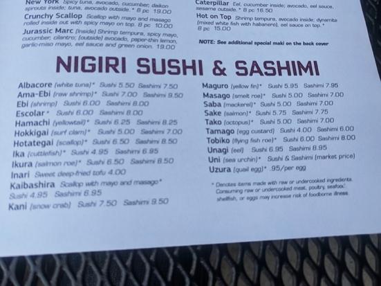 Saji-Ya, Menu, Nigiri Sushi & Sashimi
