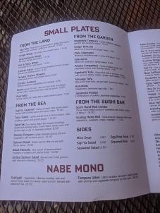 Saji-Ya, Menu, Small Plates, Nabe Mono