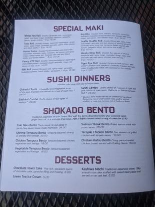 Saji-Ya, Menu, Special Maki, Sushi Dinners, Bento, Desserts