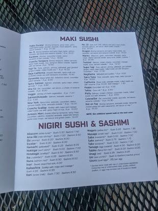 Saji-Ya, Menu, Sushi
