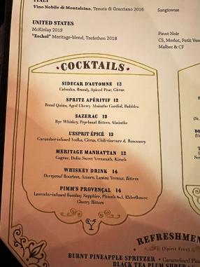 Meritage, Cocktails