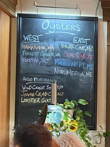 Meritage, Oyster bar board