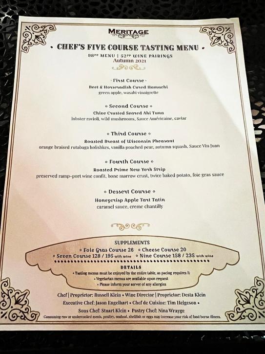 Meritage, Tasting menu